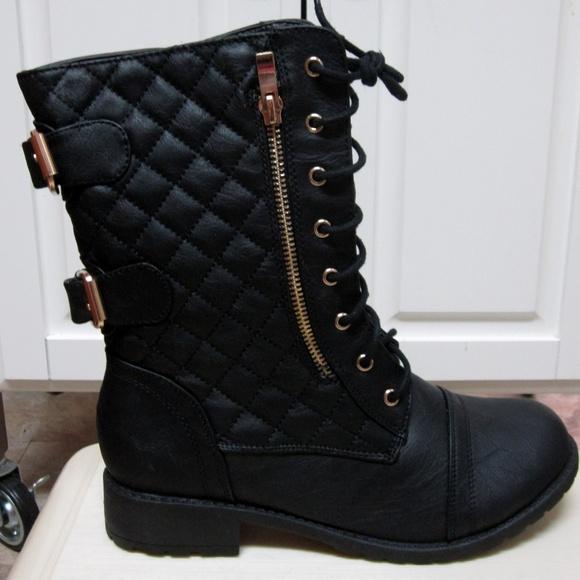 Top Moda Women/'s Jean-18 Quilted Motorcycle Combat Boots